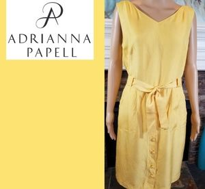 ADRIANNA PAPELL GOLD SLEEVELESS SILK DRESS!